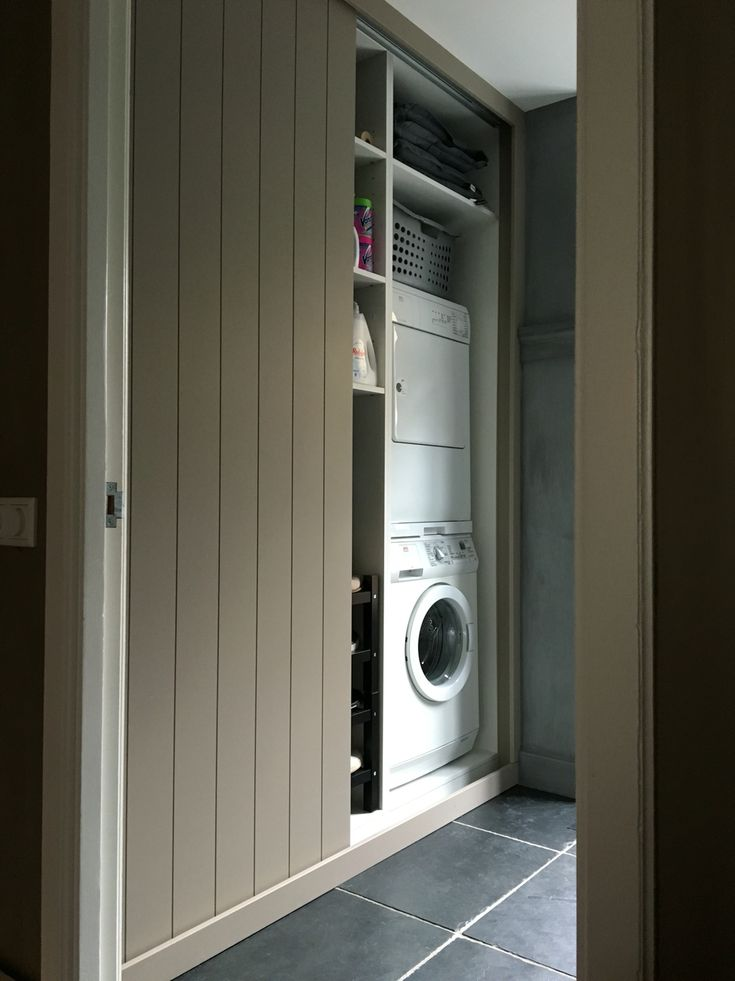 Wasmachine ombouw. Schuifdeuren. bijkeuken