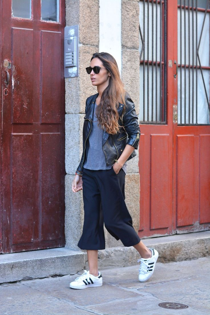 Biker Jacket + Basic Tee + Culottes + Sneakers