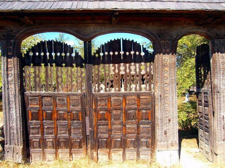Romania - sculpted wooden gate