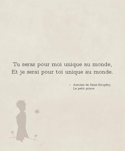 """""""Tu seras pour moi unique au monde et je serai pour toi unique au monde."""" Le Petit Prince. Citation du """"Petit Prince"""" à imprimer pour chambre d'enfants."""