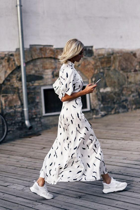 Double stylé: gown midi + baskets