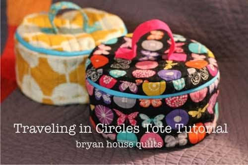 This cute Traveling in Circles Tote is the perfect bag to organize all your sewing supplies. It has a place for everything, with customizable interior pock