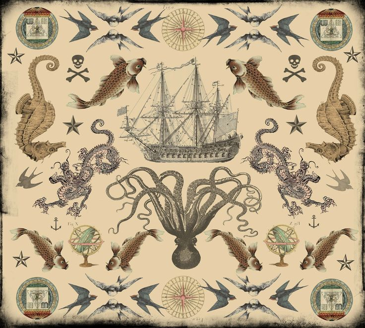 Silk Cloth Vintage Nautical Tattoos by novelatelier on Etsy