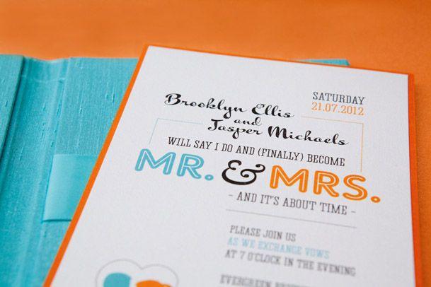 modern teal orange tangerine wedding