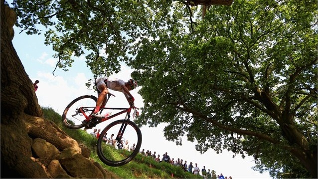 Chan Chun Hing of Hong Kong, China competes in the Men's Cross-country Mountain Bike race on Day 16 of the London 2012 Olympic Games at Hadleigh Farm.