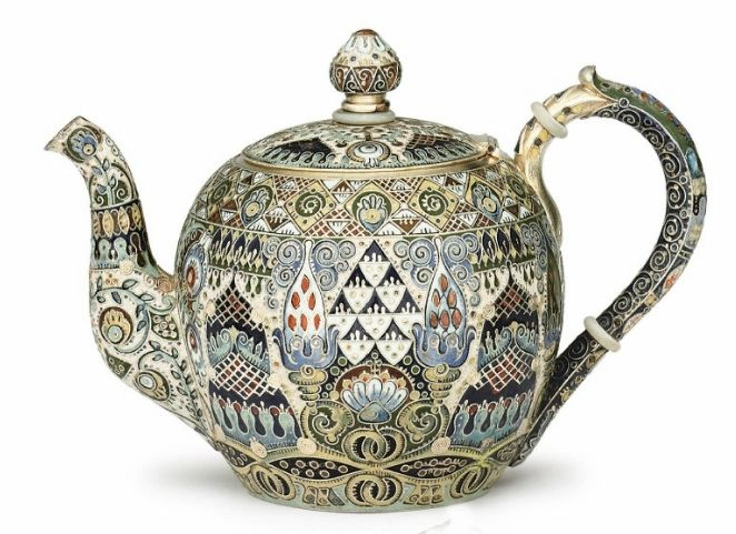 Faberge/Ruckert Teapot | Feodor Rückert, workmaster for cloisonné enamel in the Fabergé firm from 1887-1917