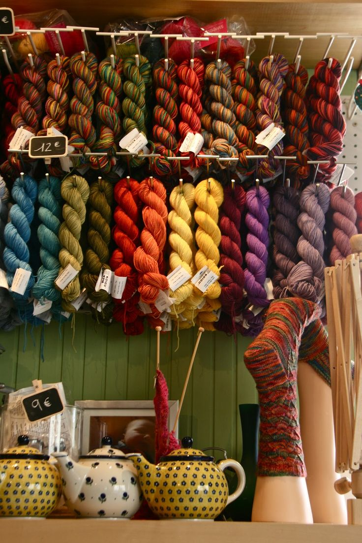 "Colorful yarn shop in Paris- found at 10 rue de la Butte aux Cailles. ""Aimee not only serves tea, but colorful yarns as well. What a terrific combination!"""