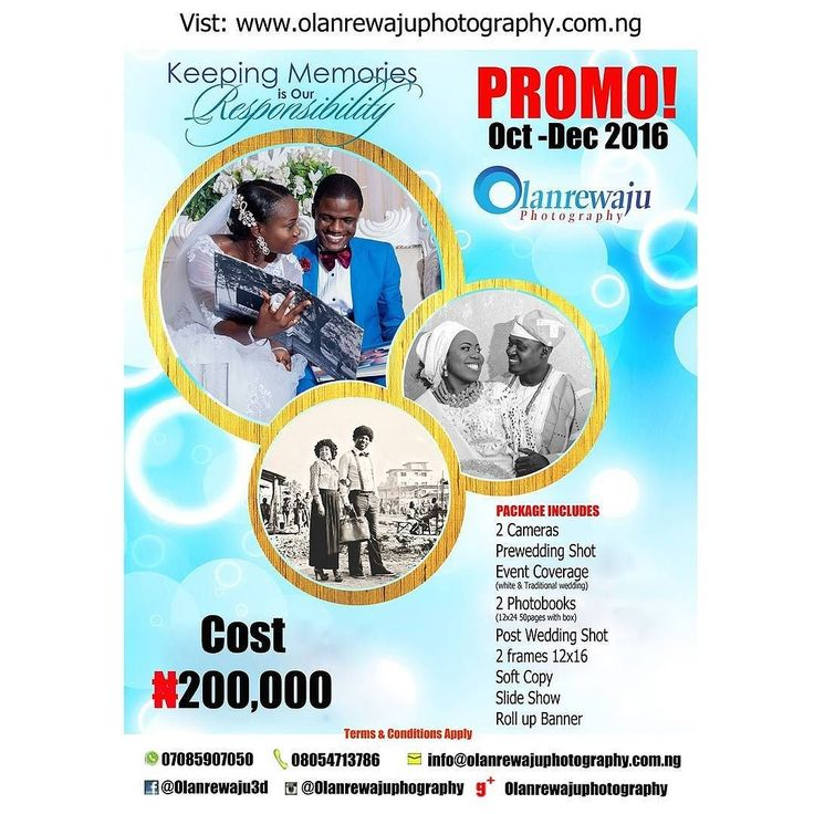 Happy Independence Day & Happy New Month. Are u looking for a professional photographer to document & capture the coloursmoment of your event? here's your chance to benefit from our Oct - Dec 2016 promo terms and conditions apply. To VEIW more of our photos visit http://ift.tt/2dssstf or you Whatsapp and call 07085907050. Follow @olanrewajuphotography & tag 2016 brides. #swsponsoredpost