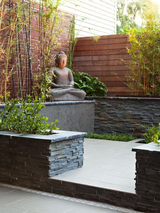 zen garten terrasse schiefer bambus buddha statue