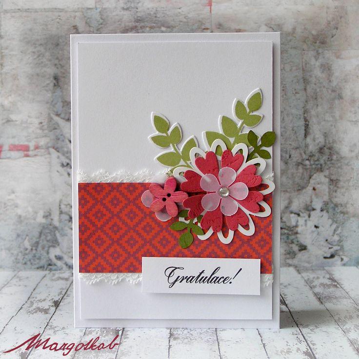Přáníčko+květinové-+gratulace+Ručně+vyráběné+přání+z+papíru,+A6+s+obálkou.+Univerzální+přáníčko+s+nápisem+gratulace+k+různým+příležitostem.+kytičky,+lístečky,+clean+and+simple+style.
