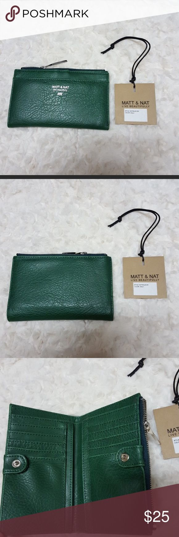 Nathalie Matt and Nat Wallet Beautiful Evergreen Color Matt and Nat wallet! I just purchased new on Posh, but it's slightly bigger than what I was hoping for. Beautiful quality, and as usual- gorgeous coloring ! Price is firm, I'm only asking what i paid :) Matt and Nat Bags Wallets