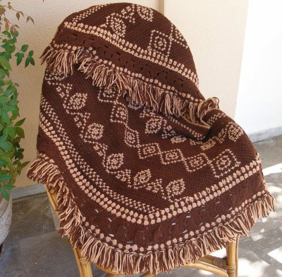 Beautiful shades of Brown !!! Crochet and embroidery on a warm shawl, pashmima, poncho by #VintageHomeStories #pashmina #poncho #shawl  #wrap #accessories #hippie #boho #chic #Crochet #embroidery