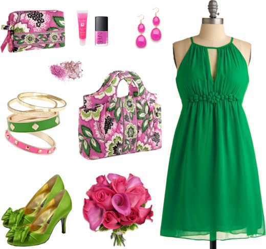 Style this bag: Bridesmaids (Priscilla Pink): Outfit Clothing, Green Color, Cute Dresses, Pink Outfit, Green Style, Cute Outfit, Bridesmaid Kat, The Dresses, Green Dresses