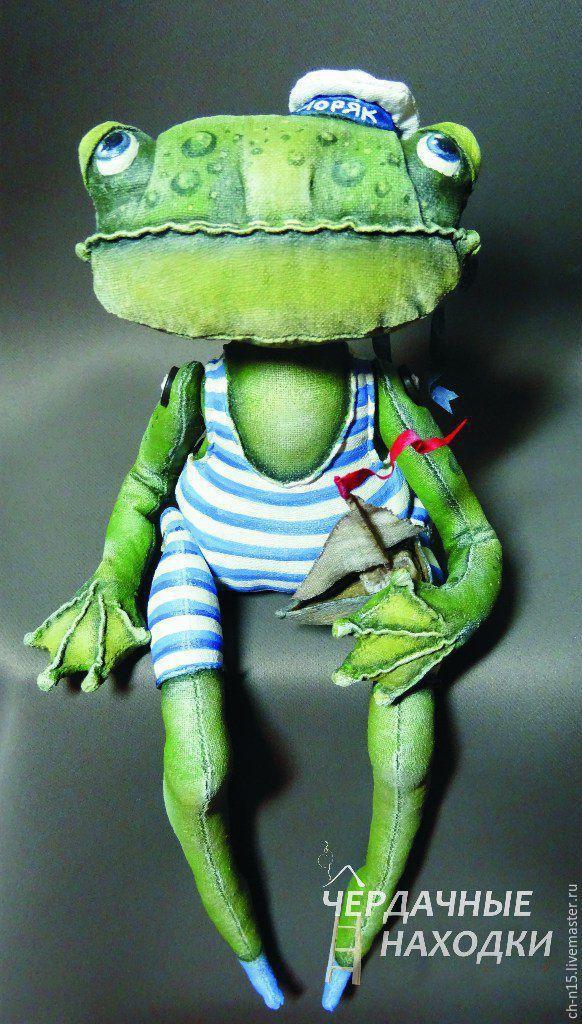 Купить Моряк - грунтованный текстиль, авторская игрушка, зеленый, лягушка, моряк, подарок для мальчика