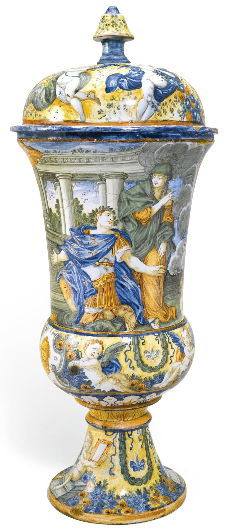 A Large Castelli Maiolica Vase And Cover Mid 18th Century
