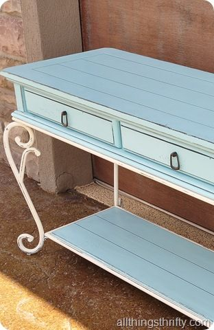 Refinishing Furniture from All Things Thrifty. Like this idea for lightening up & coastal-fying some of our furniture with iron legs.