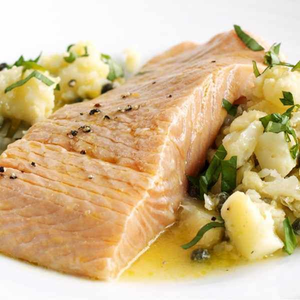 Citrus salmon with herb and caper crushed potatoes