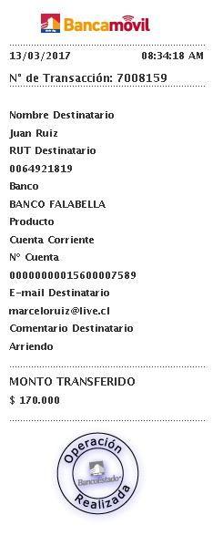 Comprobante transacción - Banco Estado