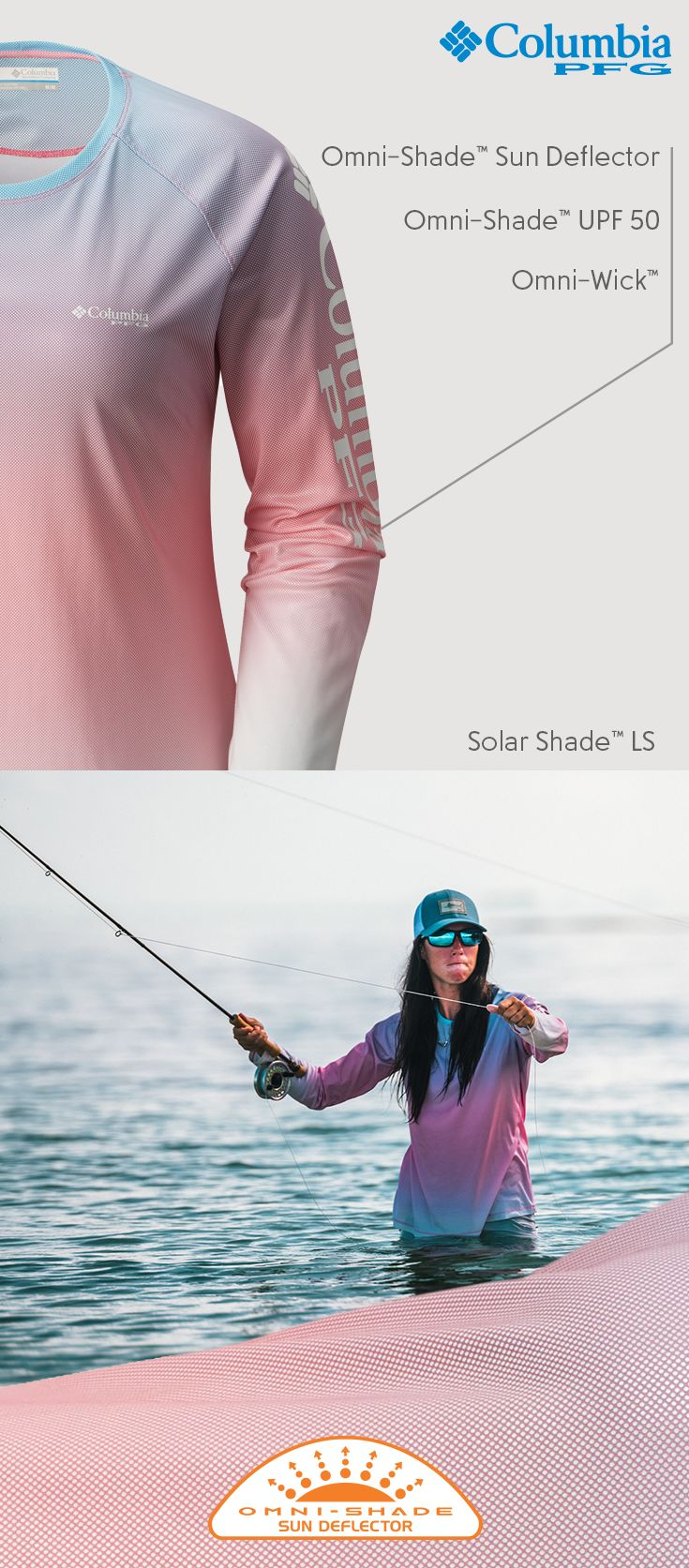 Reel in a full day's comfort. Our Woman's Solar Shade™ LS shirt is tested tough to keep you cool, dry and protected so you can stay focused on the matters at hand.