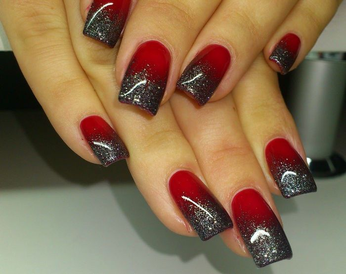 Ombre Nails Black Glitter Black And Red Ombre - Best 25+ Red Black Nails Ideas On Pinterest Halloween Nail Art