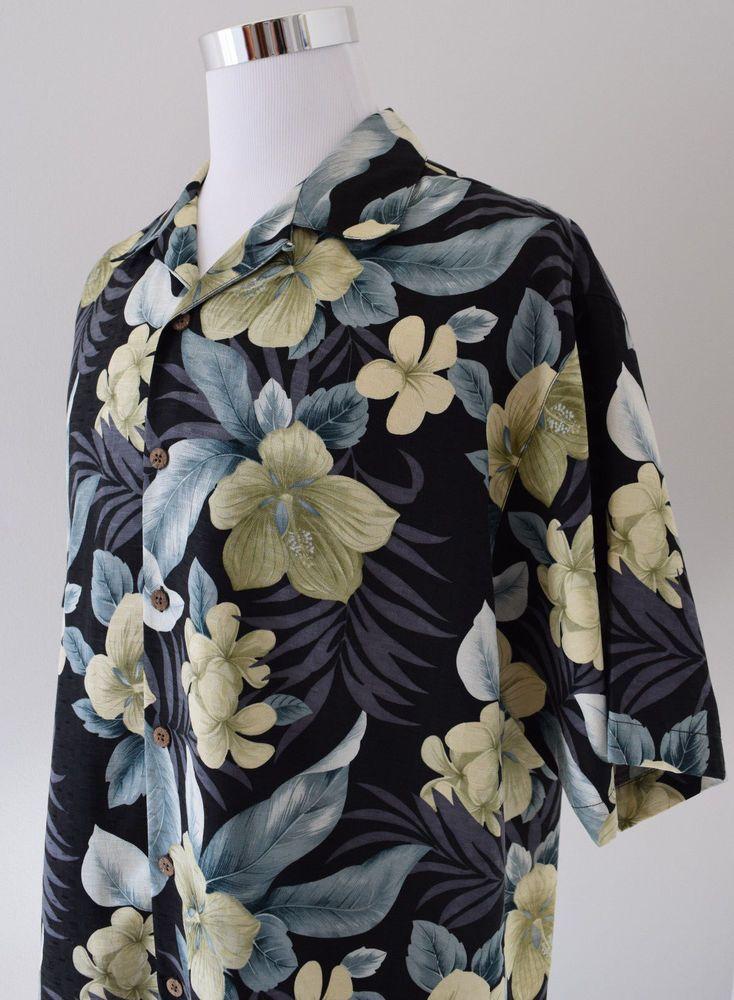 TOMMY BAHAMA Men's 100% Silk Shirt Hawaiian Floral Multi-Color Short Sleeve Sz L #TOMMYBAHAMA #ButtonDown