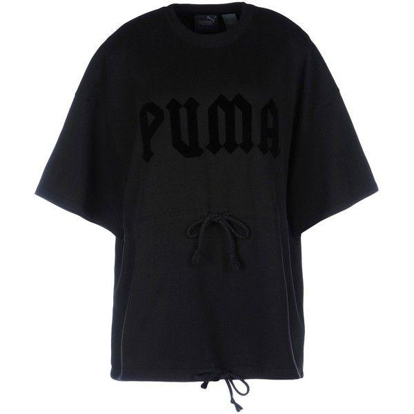 Rihanna X Puma T-shirt (€120) ❤ liked on Polyvore featuring tops, t-shirts, black, short sleeve cotton tops, cotton jersey t shirt, cotton tees, puma t shirts and logo design t shirts