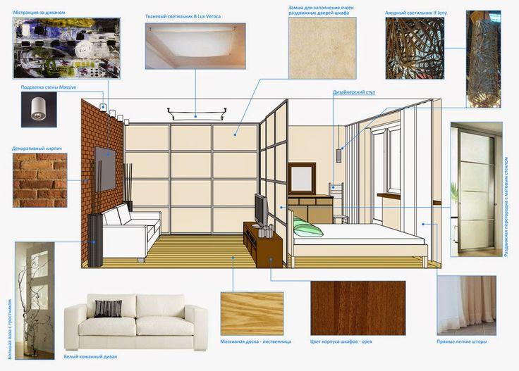 Концепция. Дизайн однокомнатной квартиры: Однушка для себя. Основным изменением стало разделение комнаты на две зоны невысокой перегородкой, позволяющей проникать свету в дальнюю зону