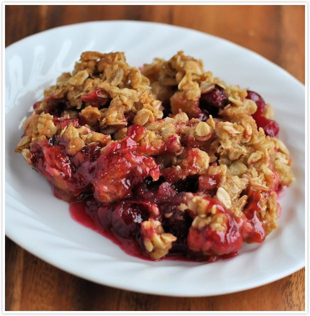 Cranberry apple crisp - Mix together Filling: 12oz bag fresh cranberries, 3 apples (diced), 1 1/4C sugar, 3 Tbs flour, juice of 1 orange (=1/4C juice). Mix together Topping: 1 1/2C oats, 1/2C flour, 3/4C brown sugar, 1/2C melted butter. (Add up to 3Tbs tapioca for less juicy filling) >> Grease baking dish. Add mixed filling. Top evenly with topping. Bake uncovered at 350 for 1 hr.