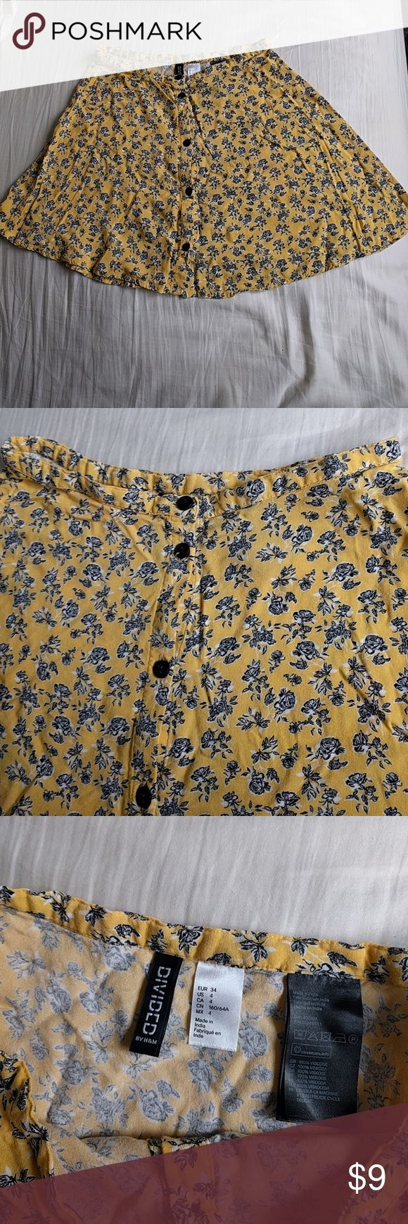 Floral yellow skater skirt Fresh and beautiful skirt. Special for the summer, soft fabric. Never used. Divided Skirts Circle & Skater
