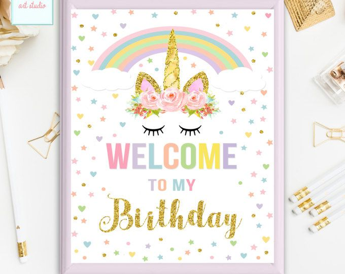 Unicorn Welcome Sign, Welcome to my Birthday Sign, Unicorn Wall Art, Unicorn Table Sign, Printable Party Sign, INSTANT DOWNLOAD