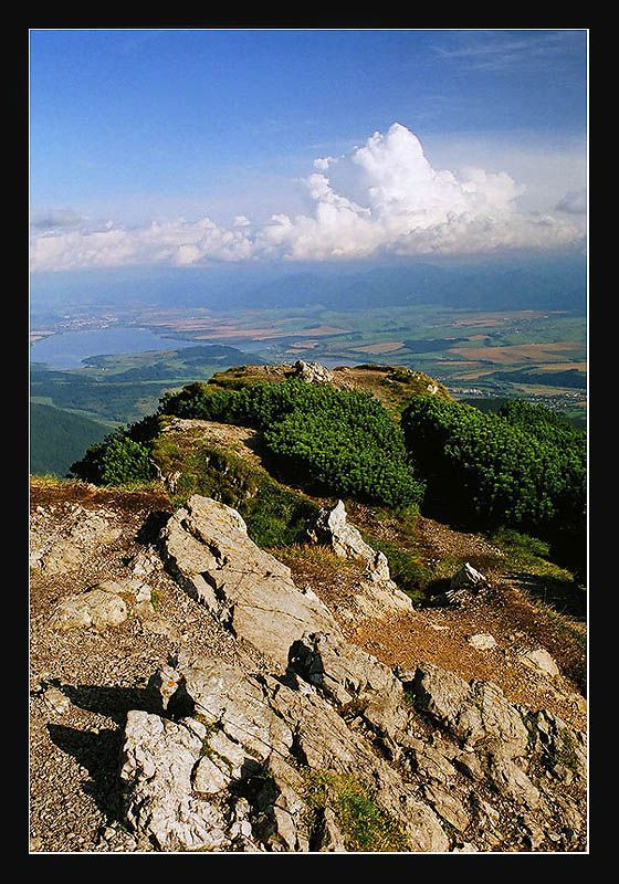 View of Liptov area from the top of the Choc mountains.  Liptovska Mara dam on left and Nizke Tatry at back.  Slovakia