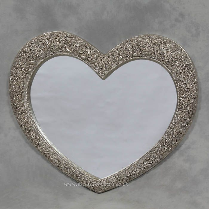 Large heart antique style mirror with embellished silver roses to the frame