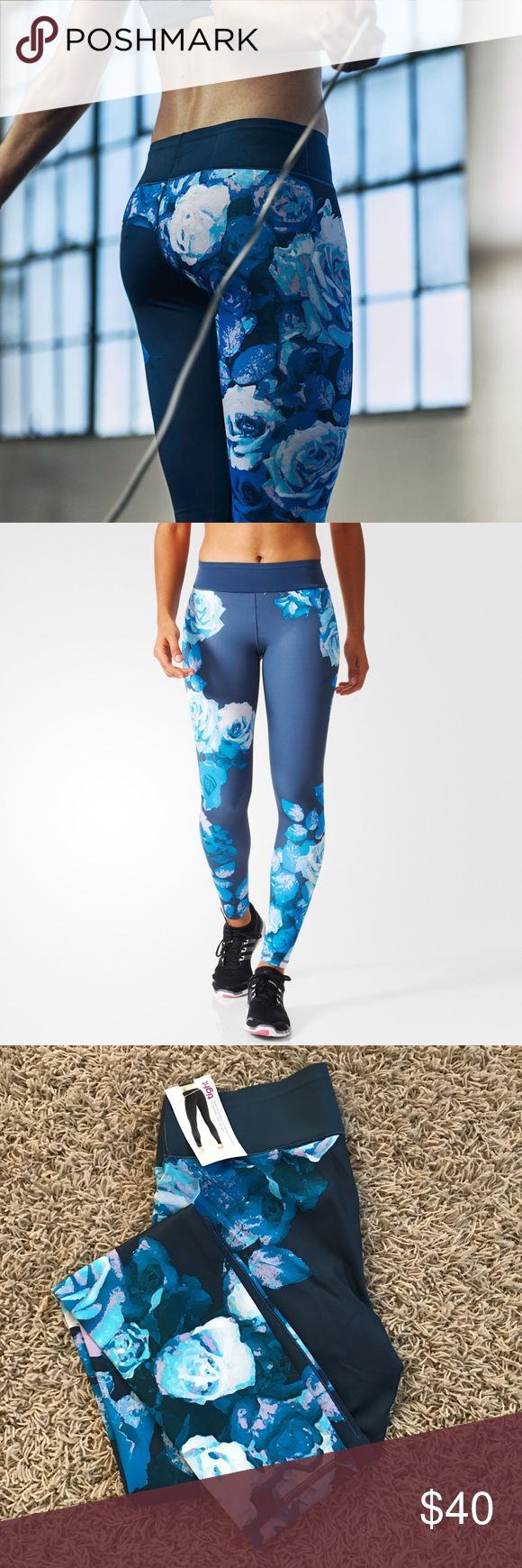 Adidas Europe Blue Floral Workout Tights Adidas Europe Blue Floral Work Out Tight •New with tags •Retails for $80  Check out my other listings- Nike, adidas, Michael Kors, Kate Spade, Miss Me, Coach, Wildfox, Victoria's Secret, PINK, Under Armour, True Religion and more! Adidas Pants Leggings