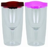 Vino2Go 2 Pack of Double Wall Clear Acrylic Tumbler with Wine Red Lid and Pink Lid