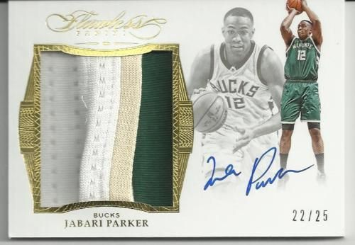 2015-16-PANINI-FLAWLESS-JABARI-PARKER-AUTO-PATCH-JUMBO-22-25-BUCKS-3-COLORS