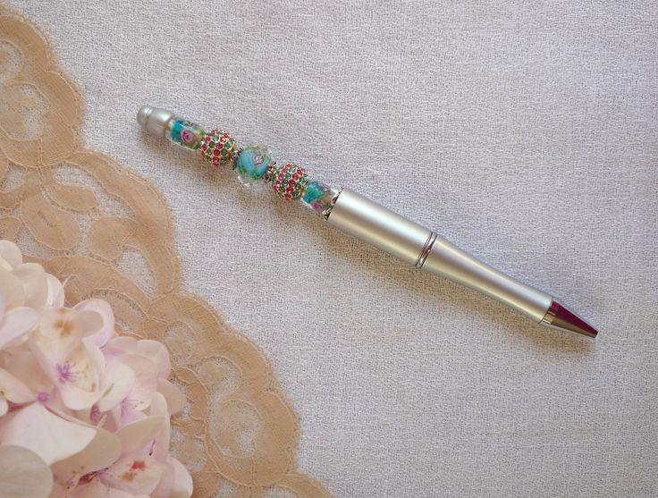 Stylo bille argenté perlé rechargeable : Matériel pour écriture par bric-broc-et-vieilles-dentelles