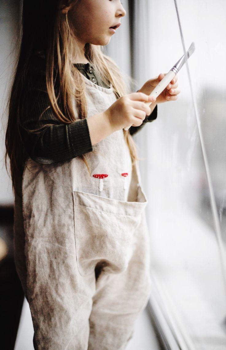0814b9b13b97 Little Girls Handmade Embroidered Linen Overalls