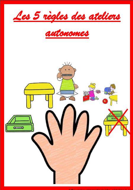 des affiches pour les ateliers autonomes et progression pour un bac de manipulation