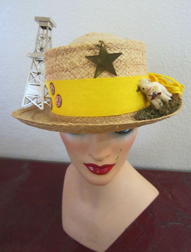 Vtg,Raffia Straw Fedora RARE Novelty Hat,Italy,Sz 7.25,Oil Tycoon,Neiman Marcus