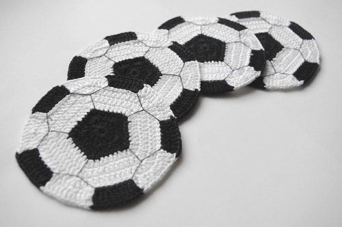 Crochet coasters football soccer ball sport beer tea by Edangra