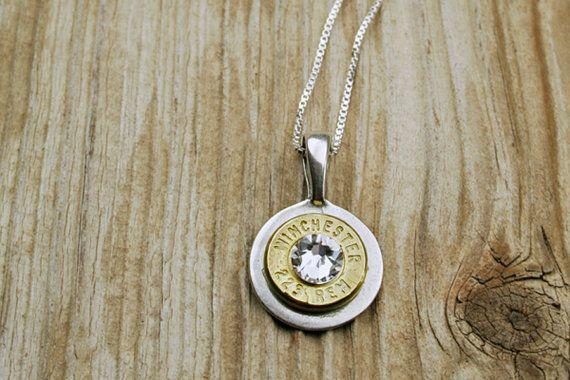 223 Brass Bullet Sterling Silver Necklace with Swarovski Crystal on Etsy, $35.95