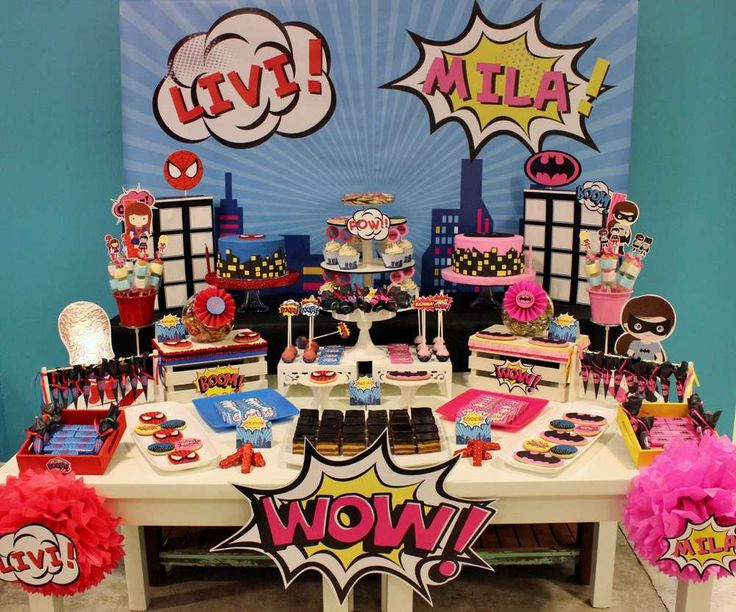 A Fantastic Superheroes Birthday Party For Girls Love It See More Ideas
