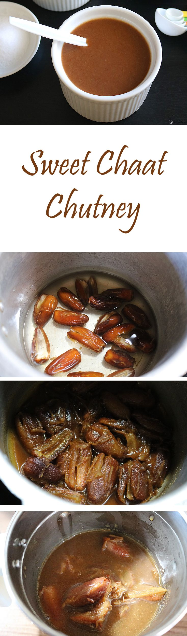 A sweet, tangy and spicy chutney made primarily from dates, tamarind and jaggery. It is the perfect ingredient to add a bit of sweetness and zing to any Indian chaat or to be used just as a side for hot samosa or pakoda.