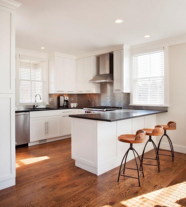 White Kitchen Peninsula with Black Countertop, Cottage, Kitchen