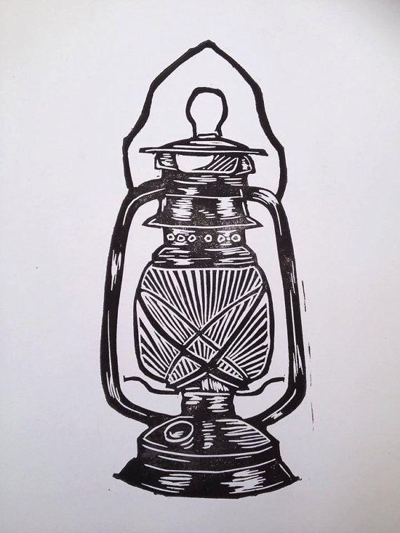oil lamp lantern linoprint on Etsy, £6.00