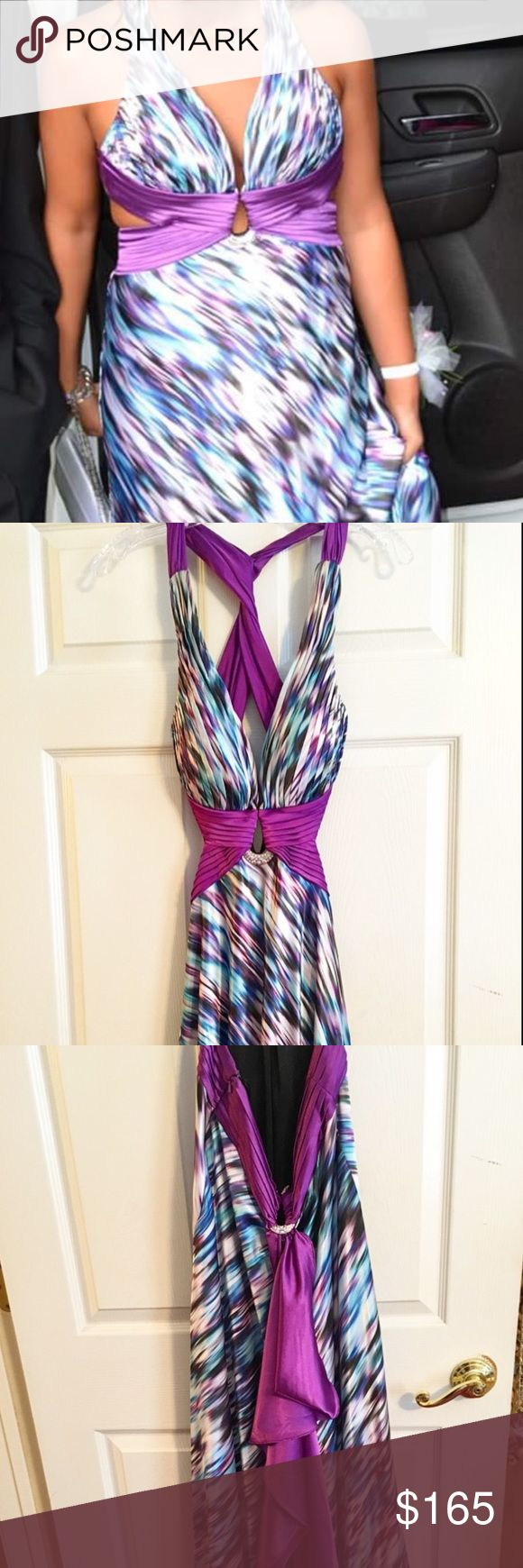 *SALE*  LA FEMME Multicolor Prom Dress Open Back LA FEMME prom dress with multicolor design and open back. Only warn once and in excellent condition. Long in length and has purple tail that can be detached if wanted. Stone design in back and also in chest. Cross cross in back with open sides. Very beautiful dress! La Femme Dresses Prom
