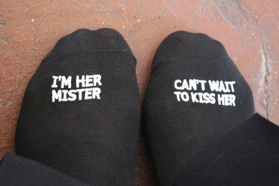 Embroidered Grooms Socks  'i'm her mister can't wait to kiss her'™ Wedding Gift Idea, Mens Wedding Socks Gift from Bride Groom Wedding Funny...