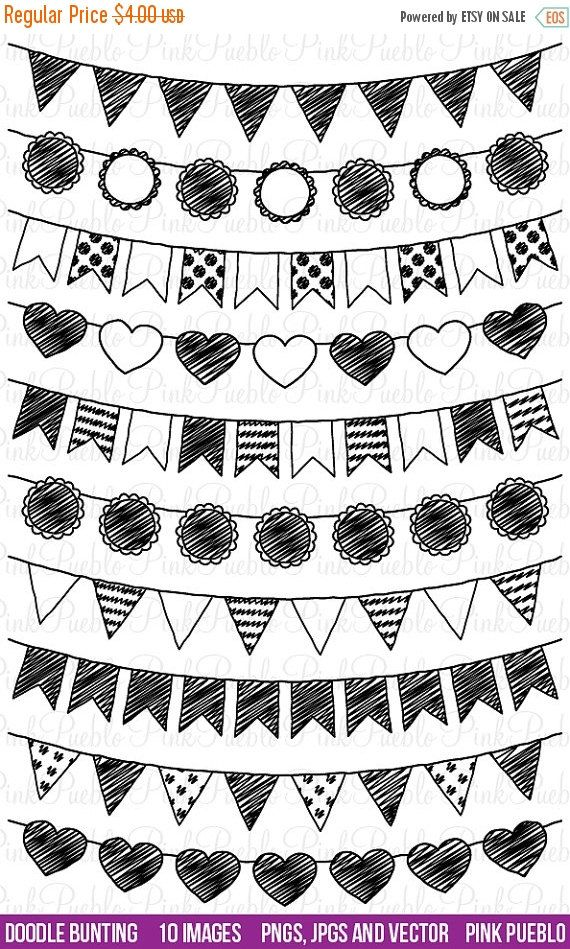 HALF OFF SALE Doodle Bunting Clipart Clip Art, Doodle Flags Ribbons Banners Clipart Clip Art - Commercial and Personal Use by PinkPueblo on Etsy
