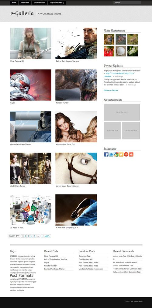 e-Galleria WordPress Theme | TemplatePanic.com