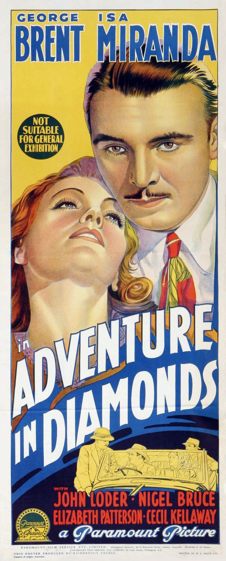 Adventure in Diamonds (1940) Stars: George Brent, Isa Miranda, John Loder, Nigel Bruce, Cecil Kellaway ~ Director: George Fitzmaurice (Australian Daybill)